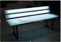 Coolqing AC100V-240V RGB Illuminated PE Plastic + Metal Frame Led Garden Chair Furniture Park Bench Garden Chair
