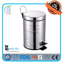 stongly foot step flat lid 20L stainless steel mirror color eco bin for garden