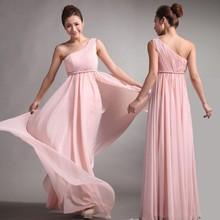 BD032 Puffy A-line Pleats Chiffon Pink One Shoulder Chiffon Long Bridesmaid Dress 2015