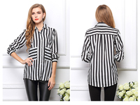 Formal blouses Long Sleeve Button Down Women Tops Vertical Striped Chiffon Pocket shirts 1357