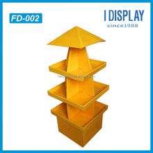 cardboard stand display 4 sides square cardboard floor display for cell phone accessories shop retail