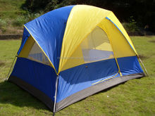 large fiberglass pole outdoor layer family camping tent
