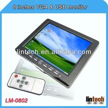 2014 new 8 inch touch screen car 8 inch tft lcd USB monitor with 2 AV inputs