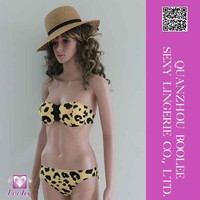 Factory supply new arrival low price Brown Sexy Leopard Grain Zip Bikini