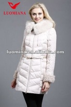 121-130 Long cream Women down jacket with fox fur collar and lamb wool in cuff Luomiana OEM Supplier from China