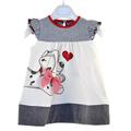 bebé niñas vestidos de flores de color rojo y blanco a rayas vestido de princesa