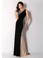 JME0040 one shoulder long sleeve heavy beaded two color evening dress for seniors