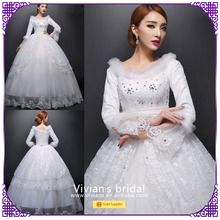 Ball gown appliqued scoop neck long sleeves full length wedding dresses whole sale china BS025