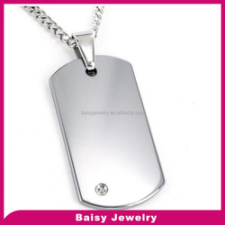 bulk cheap Engraveable High Polished stainless steel personalized blank Dog Tag with Diamond