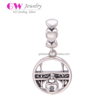 Wholesale Hollowed Swing Round Silver Charm, Heart Style Silver Beads