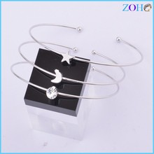 hot new products jewelry for 2015 star and moon design tiny bangle silver bracelet set botique