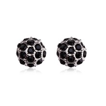 OUXI mushroom boll shaped black 925 sterling Silver&zircon earrings for women Y20041