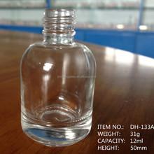 Empty Nail Polish Bottle Mini Elegant 12mL, Black Cap with Mixing Balls