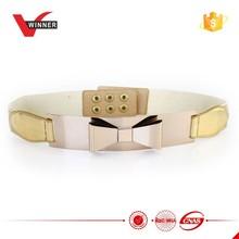 2015 Fashion ladies gold elastic metal belts