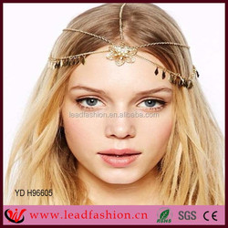 Newest Hair Accessories Metal Alloy Crystal Flower Headband Layered Head Chain