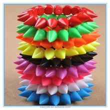 MECY LIFE 2015 wholesale handmade punk rivet colorful bracelets acrylic