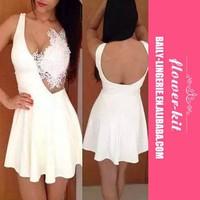 Sexy V Neck Spaghetti Strap Sleeveless White Mini Dress Sexy Lace Crochet Spliced High Waist Dress