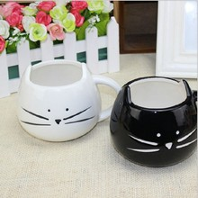 Coffee Cup Black And White Cat Animal Milk Cup Ceramic Lovers Mug Cute Birthday gift,Christmas Gift