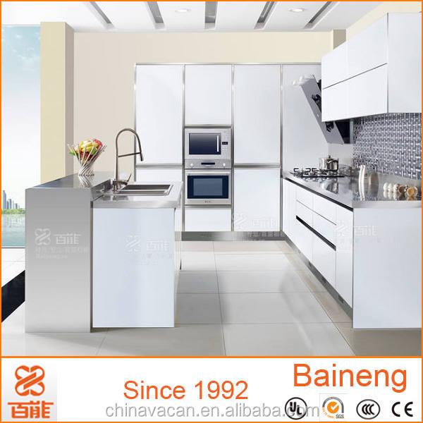 Buy Express Modular Kitchen Cabinets In High Gloss Finish: Tempered Glass Finish High Gloss Kitchen Cabinets / Flat