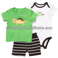 summer baby clothes sets 3pcs outfit shirt+pants+romper baby boy clothing sets
