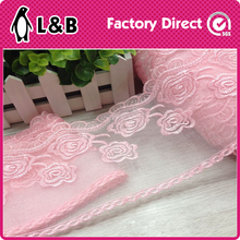 fantasy pink/red embroidery yarn lace fabric