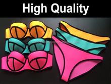 Summer Triangle Swimwear 2015 Beach Spandex Bikini Set Contrast Colors 8 Colors Women Swimming Bathing Suit Not Neoprene