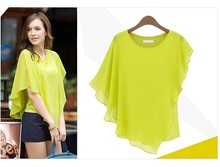 2014 primavera verano de moda camisas de ala de murciélago blusas de manga señora europea asimétrica de blusas de gasa 6342