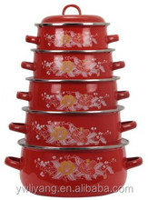 colorful decal enamel cast iron stew pan