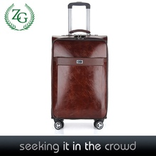 Double zipper PU leather suitcase 360-degree wheels luggage faux leather luggage with Aluminum rod