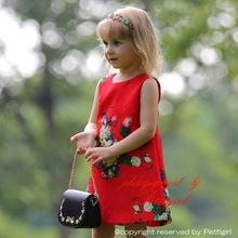 Muchachas del verano pc una vestido con Red impreso flor ropa de niños por mayor GD80720-1F