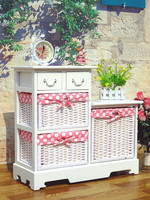 Korean contry style wood storage cabinet with 3 woven baskets