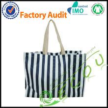 Classic Design cotton canvas stripe shopping bag beach bag tote bag