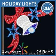 Christmas rope led motif light/2D led bell motif for holidays