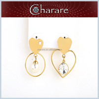 2015 Top Design Crystal Jewelry Fashion heart stud earrings ladies designs double earring