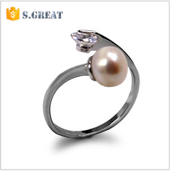 afghan kuchi adjustable ring blanks wholesale alloy crystal silver pearl ring