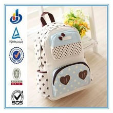 2015 new design fashion canvas student school backpack college style for girls