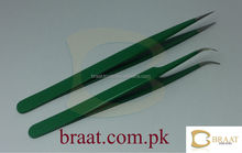 Most beautiful green colour in eyelash extension curved tweezers / eyelash extension tweezers / professional eyelash tweezers
