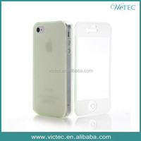 Dust Proof Soft Rubber TPU Flip Case For iPhone 4 Front and Back Cover