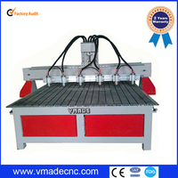 Multihead woodworking cnc router with 4 axis