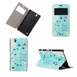 High Quality Color Printing PU Leather Flip Case Cover For Sony Xperia c4