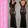 Luxury Wholesale Lace Nude Illusion Low Back V Neck Cocktail Dresses Black