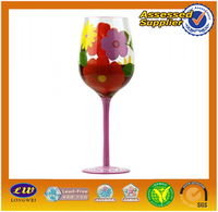 Mouth blown hot selling flower printed glassware