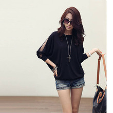 Walson Fashion Women's Loose Long Lace Batwing Sleeve Shirts Plus Size Blouse Tops S M L XL G0129