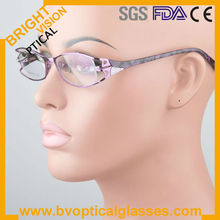 Woman's full rim metal optical frames with acetate temples silicon nosepade (PG199)