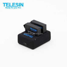 Telesin new arrival dual battery charger for go pro Hero4 battery, support charger two pieces AHDBT-401 at the same time