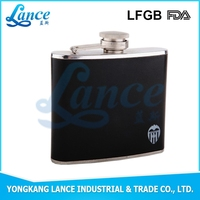 Festival choice stainless steel black PU leather hip flask