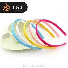 Wholesale women kids accessories colored satin ribbon coverd thin plastic headband&