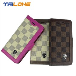 plaid design phone case wallet for iphone 6 leather case