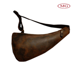 100% cowhide crazy horse real leather chest pack/bag vintage backpack with single shoulder strap