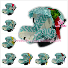 Wholesale Graco tiffany infant baby car seat canopy with green white chevron print